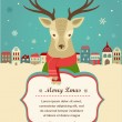 Christmas background with hipster deer and ribbon — Stock Vector