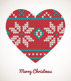 Xmas heart ornaments - seamless knitted background — ストックベクタ