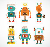 Set of vintage robot icons — Vector de stock