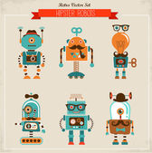 Set of vintage hipster robot icons — Vector de stock