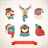 Christmas background with hipster animals — Stock Vector
