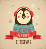 Christmas background with hipster penguin — Stock Vector