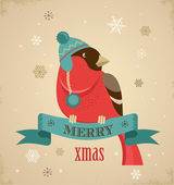 Christmas background with hipster bullfinch — Stock Vector