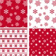 Set of red seamless snowflake pattern — Stock vektor