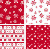Set of red seamless snowflake pattern — Stock Vector