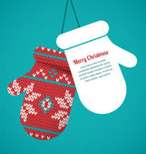 Knitted mittens Christmas vector background — Cтоковый вектор