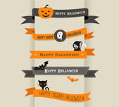 Happy Halloween - set of ribbons and icons — Vettoriale Stock