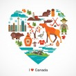 Canada love - heart with icons and elements — Stock Vector