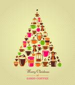 Vintage weihnachtsbaum kaffee-symbole — Stockvektor