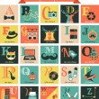 Hipster alphabet concept background with icons — Vecteur