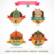 World Cities labels - Marrakesh, Tokio, Astana, Dubai, — Grafika wektorowa