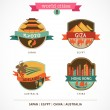 World Cities labels - Kyoto, Giza, Adelaide, Hong Kong, — Grafika wektorowa