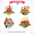 World Cities labels - Moscow, Phuket, Madrid, Hanoi — Vector de stock #36417015