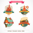 World Cities labels - Moscow, Phuket, Madrid, Hanoi — Stockvector #36417015
