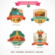 Vector de stock : World Cities labels - Mahe, Roma, Bangkok, Bogota