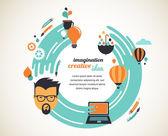 Design, creative, idea and innovation concept — Stock Vector