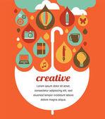 Creative umbrella - idea and design concept — Stock Vector