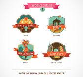 World Cities labels - Delhi, Berlin, Rio, New York — Stock Vector