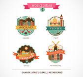 World Cities - Amsterdam, Venice, Jerusalem, Vancouver — Stock Vector