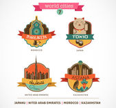 World Cities labels - Marrakesh, Tokio, Astana, Dubai, — Stock Vector