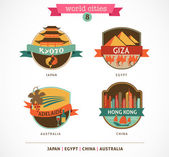 World Cities labels - Kyoto, Giza, Adelaide, Hong Kong, — Stock Vector