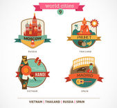 World Cities labels - Moscow, Phuket, Madrid, Hanoi — Stock Vector