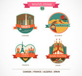 World Places - Paris, Toronto, Barcelona, Sahara — Stock Vector