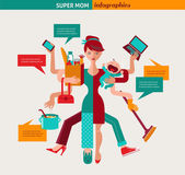 Super Mom - illustration of multitasking mother — ストックベクタ