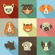 Pets vector icons - cats and dogs elements — Stock Photo #39172819
