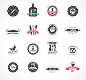 Set of vintage restaurant and food badges, labels — Stock Vector