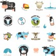 Milk Labels, elements and icons — Stock Vector #39679257