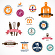 Stock Vector: Collection of vintage bakery and cafe labels