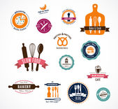 Collection of vintage bakery and cafe labels — Stock Vector