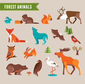 Forest animals vector set — Stock Vector