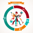 Stock Vector: Super Mom - infographic of multitasking mother