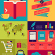 Reading books infographics, set of flat icons — Stock Vector #43299971
