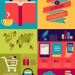 Kitaplar infographics okuma, düz simgelerin ayarlamak — Stok Vektör #43299971
