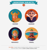 Bookstore subjects, flat icons and characters — Stock Vector