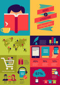 Reading books infographics, set of flat icons — Stock Vector