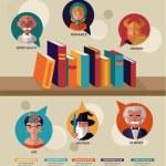 Kitaplar infographics okuma, düz simgelerin ayarlamak — Stok Vektör #43300139
