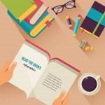 Kitaplar masaüstü okuma, düz simgelerin ayarlamak — Stok Vektör #43301021