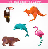 Collection of vector colorful  polygonal animals — Stock Vector