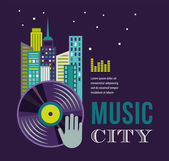 Music and night life of city landscape background — Stock Vector