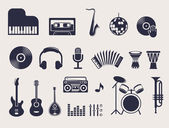 Musical instruments icons set — Stock Vector