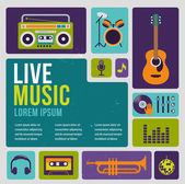 Music infographic and icon set of instruments — Stock Vector