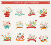 Flowers with ribbons - vector illustrations collection — Stock Vector