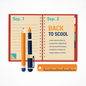 Back to school diary notebook background — Stockvektor
