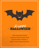 Halloween cute poster with bat silhouette. Vector illustration — Stock Vector