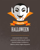 Halloween cute poster with Dracula. Vector illustration — Stock Vector