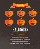Halloween cute poster with pumpkins. Vector illustration — Stock Vector